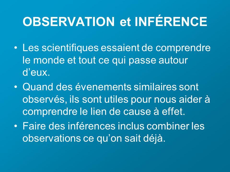 OBSERVATION et INFÉRENCE Les scientifiques essaient de comprendre le monde et tout ce qui passe autour deux.