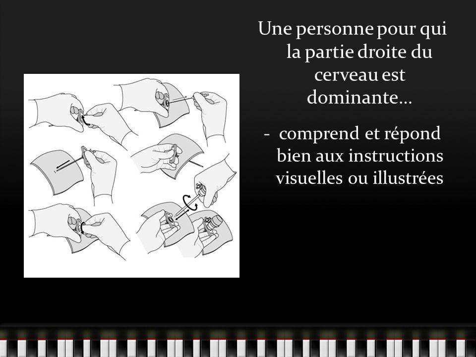 Une personne pour qui la partie droite du cerveau est dominante… - comprend et répond bien aux instructions visuelles ou illustrées