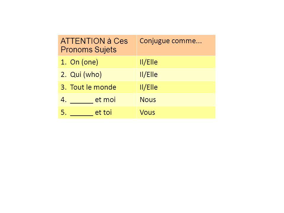 ATTENTION à Ces Pronoms Sujets Conjugue comme... 1. On (one)Il/Elle 2. Qui (who)Il/Elle 3. Tout le mondeIl/Elle 4. et moiNous 5. et toiVous