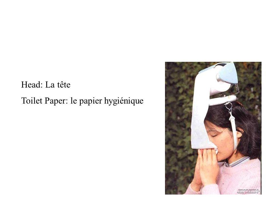 Head: La tête Toilet Paper: le papier hygiénique