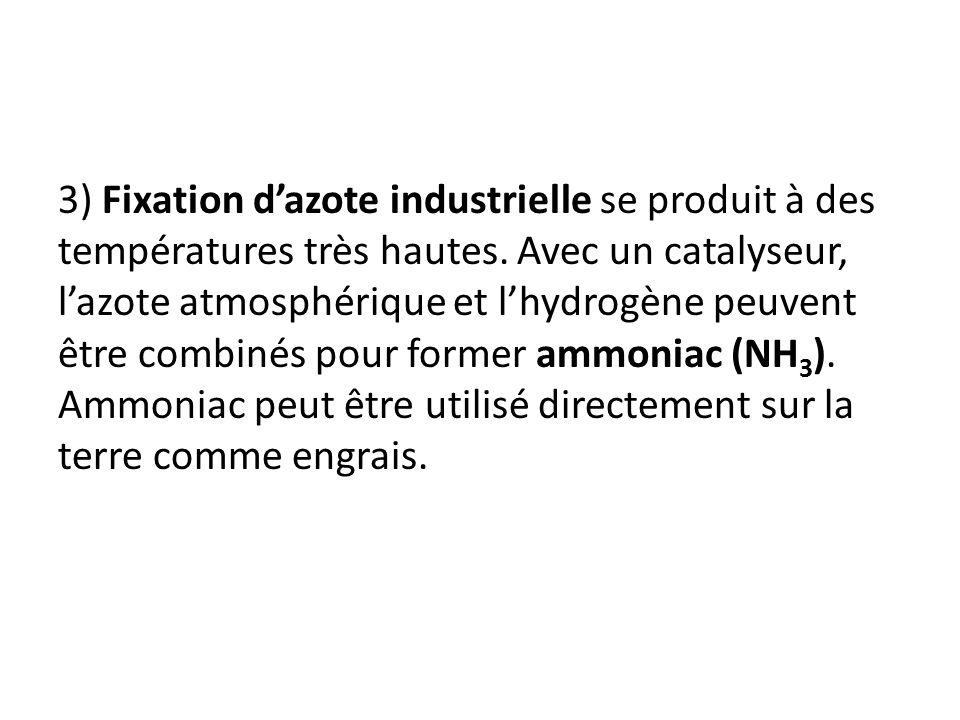 3) Fixation dazote industrielle se produit à des températures très hautes. Avec un catalyseur, lazote atmosphérique et lhydrogène peuvent être combiné