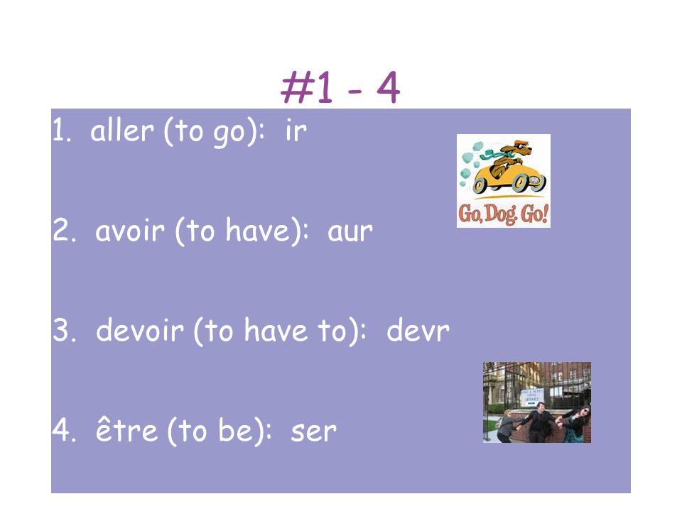 #5 - 8 5.faire (to make, to do): fer 6. pouvoir (to be able to): pourr 7.