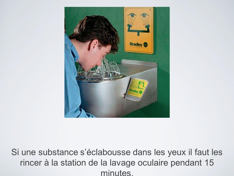 Si une substance séclabousse dans les yeux il faut les rincer à la station de la lavage oculaire pendant 15 minutes.