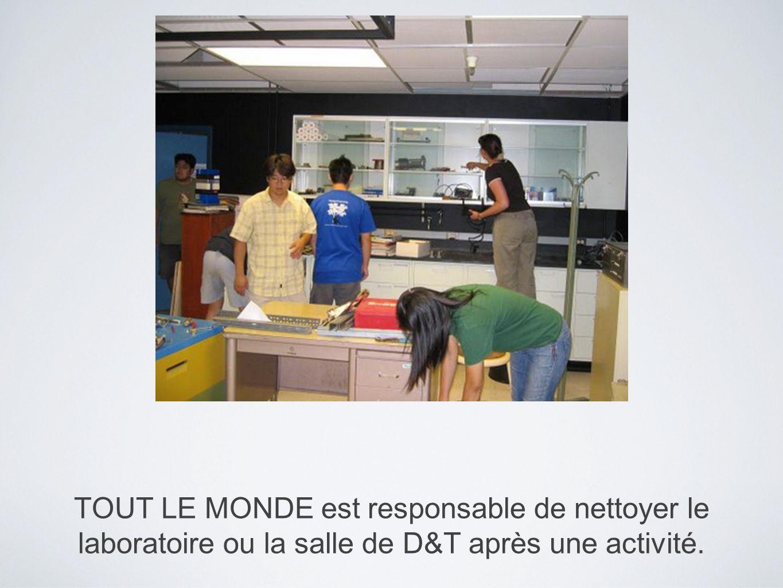 TOUT LE MONDE est responsable de nettoyer le laboratoire ou la salle de D&T après une activité.