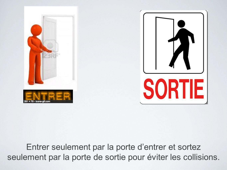 Entrer seulement par la porte dentrer et sortez seulement par la porte de sortie pour éviter les collisions.