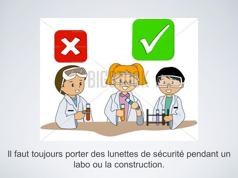 Il faut toujours porter des lunettes de sécurité pendant un labo ou la construction.