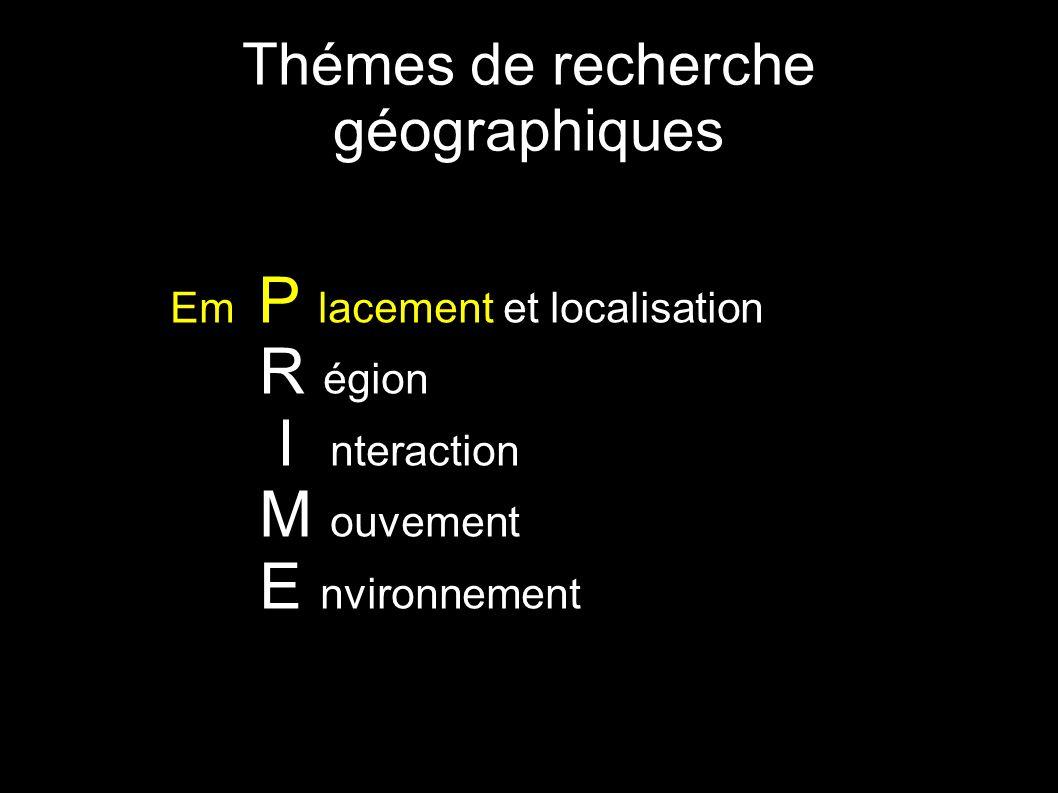 Thémes de recherche géographiques Em P lacement et localisation R égion I nteraction M ouvement E nvironnement