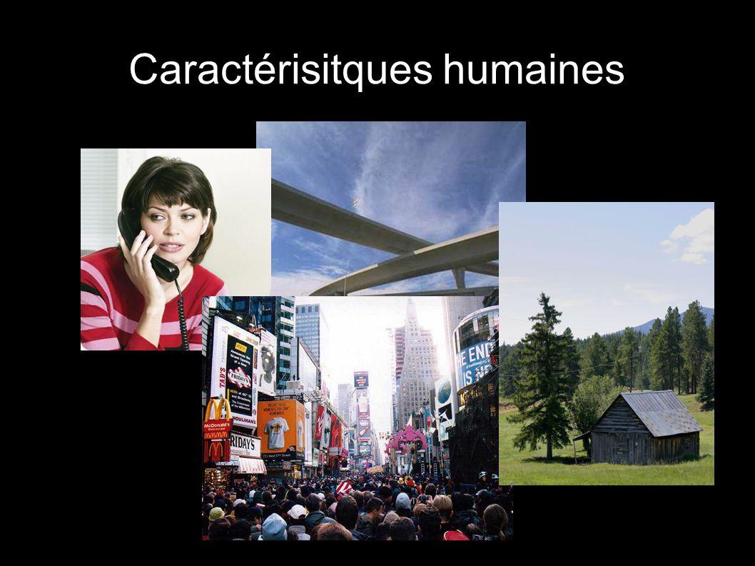 Caractéristiques de l emplacement HUMAINES Bâtiments et routes Structures Langue et population Culture etc...