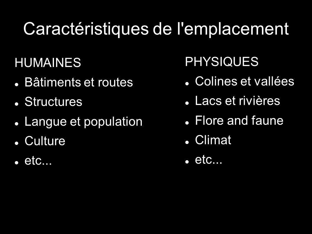 Caractéristiques de l'emplacement HUMAINES Bâtiments et routes Structures Langue et population Culture etc... PHYSIQUES Colines et vallées Lacs et riv