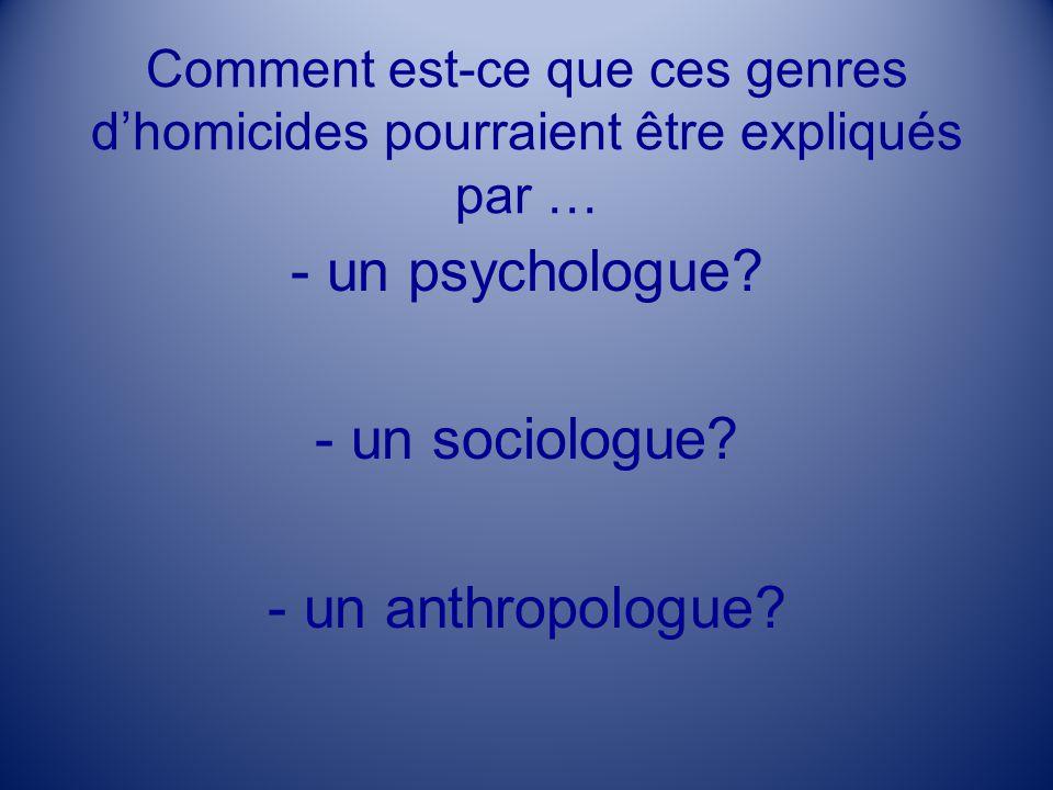 Comment est-ce que ces genres dhomicides pourraient être expliqués par … - un psychologue? - un sociologue? - un anthropologue?