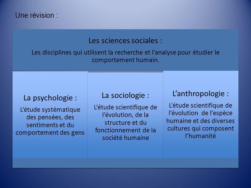 Une révision : Les sciences sociales : Les disciplines qui utilisent la recherche et lanalyse pour étudier le comportement humain. La psychologie : Lé