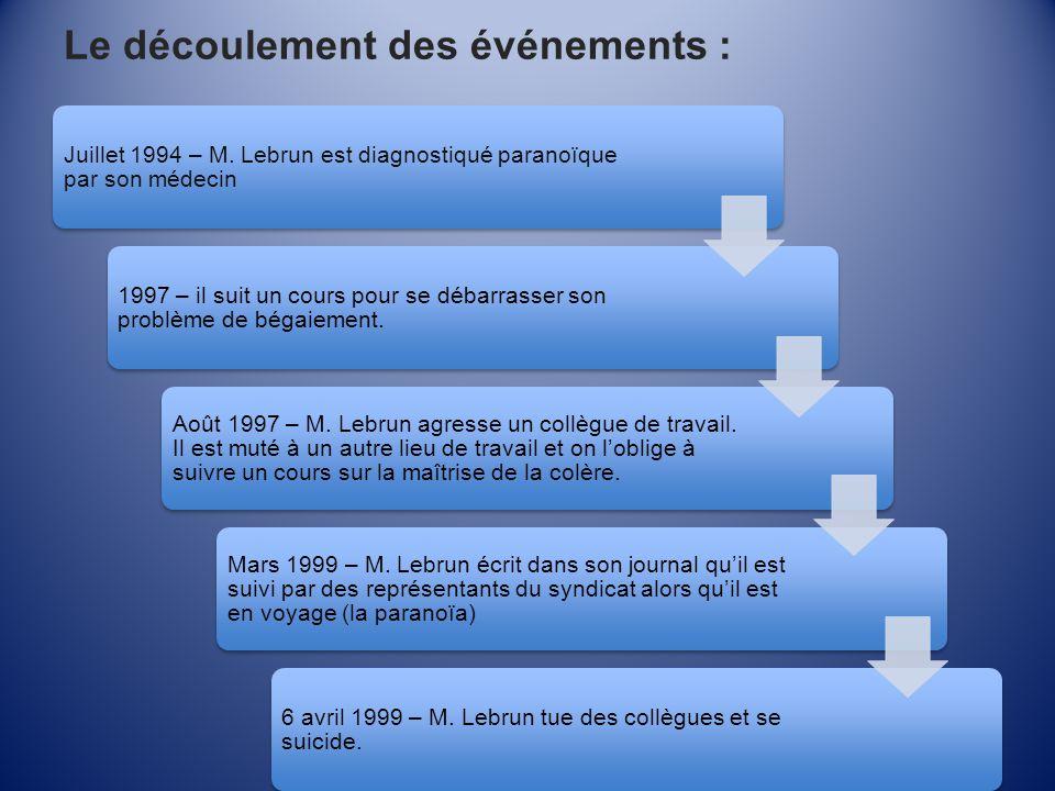Le découlement des événements : Juillet 1994 – M. Lebrun est diagnostiqué paranoïque par son médecin 1997 – il suit un cours pour se débarrasser son p