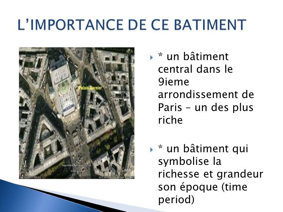 * un bâtiment central dans le 9ieme arrondissement de Paris – un des plus riche * un bâtiment qui symbolise la richesse et grandeur son époque (time period)