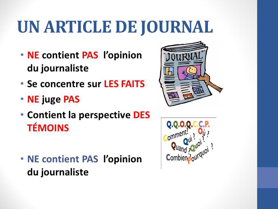 UN ARTICLE DE JOURNAL NE contient PAS lopinion du journaliste Se concentre sur LES FAITS NE juge PAS Contient la perspective DES TÉMOINS NE contient P
