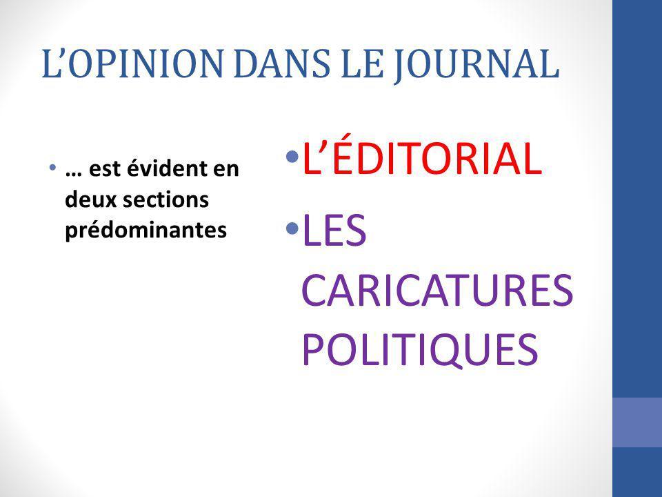 LOPINION DANS LE JOURNAL … est évident en deux sections prédominantes LÉDITORIAL LES CARICATURES POLITIQUES