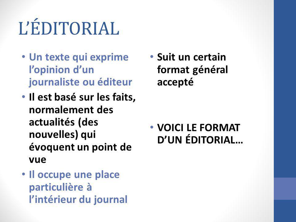 LÉDITORIAL Un texte qui exprime lopinion dun journaliste ou éditeur Il est basé sur les faits, normalement des actualités (des nouvelles) qui évoquent