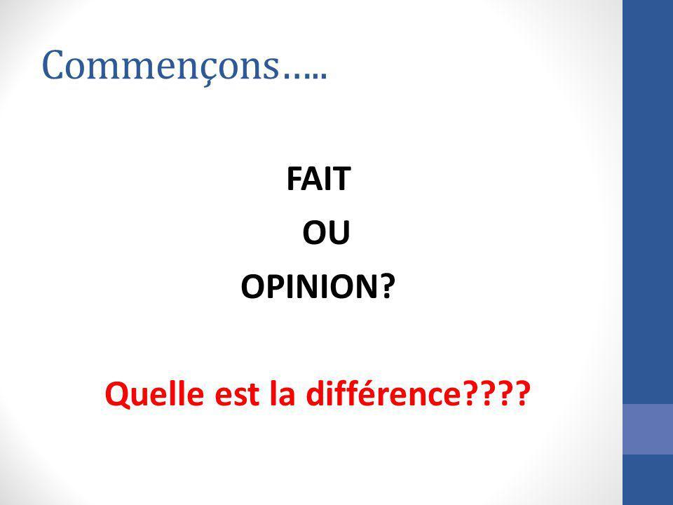 Commençons….. FAIT OU OPINION? Quelle est la différence????