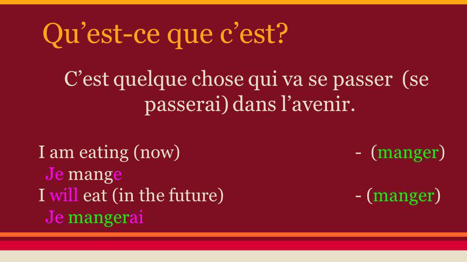 Comment forme-t-on le futur? Linfinitif du verbe + les terminaisons (manger) (finir)
