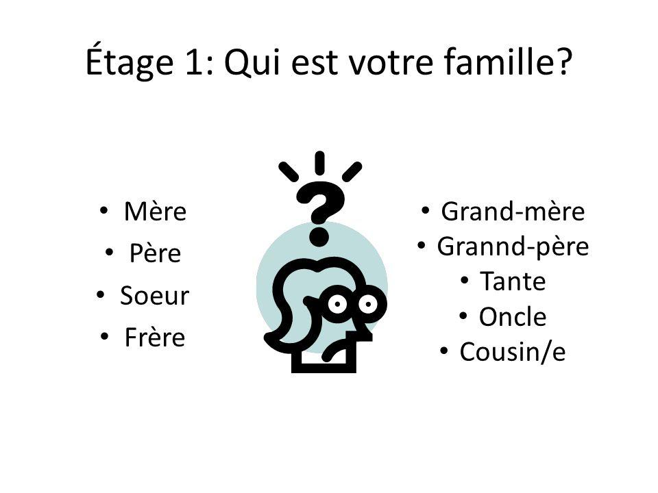 Étage 1: Qui est votre famille? Mère Père Soeur Frère Grand-mère Grannd-père Tante Oncle Cousin/e