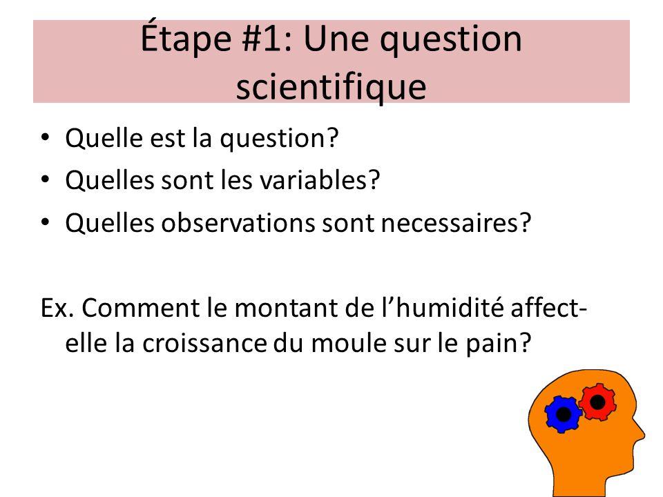 Étape #1: Une question scientifique Quelle est la question? Quelles sont les variables? Quelles observations sont necessaires? Ex. Comment le montant