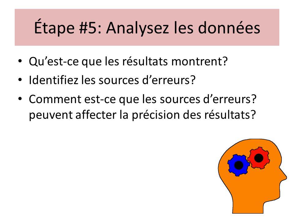 Étape #5: Analysez les données Quest-ce que les résultats montrent? Identifiez les sources derreurs? Comment est-ce que les sources derreurs? peuvent