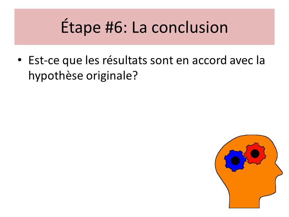 Étape #6: La conclusion Est-ce que les résultats sont en accord avec la hypothèse originale?