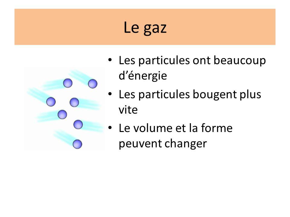 Le gaz Les particules ont beaucoup dénergie Les particules bougent plus vite Le volume et la forme peuvent changer