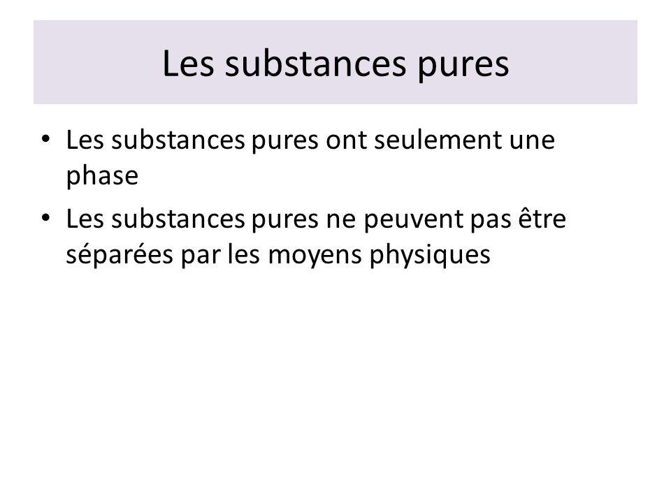Les substances pures Les substances pures ont seulement une phase Les substances pures ne peuvent pas être séparées par les moyens physiques