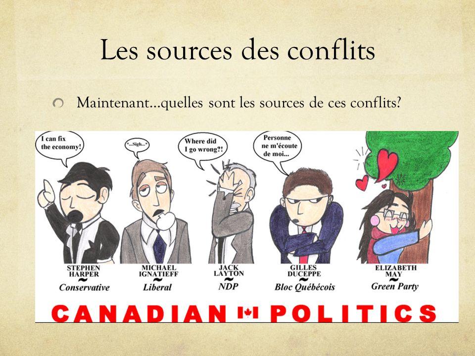 Les sources des conflits Maintenant…quelles sont les sources de ces conflits?