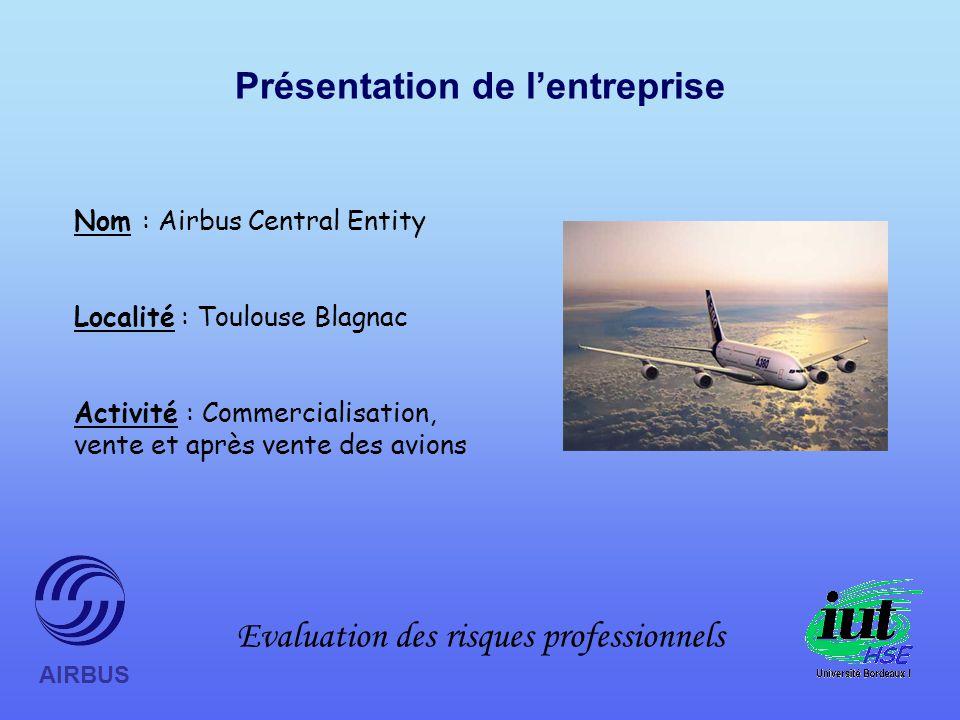 Evaluation des risques professionnels AIRBUS Présentation de lentreprise Nom : Airbus Central Entity Localité : Toulouse Blagnac Activité : Commercialisation, vente et après vente des avions