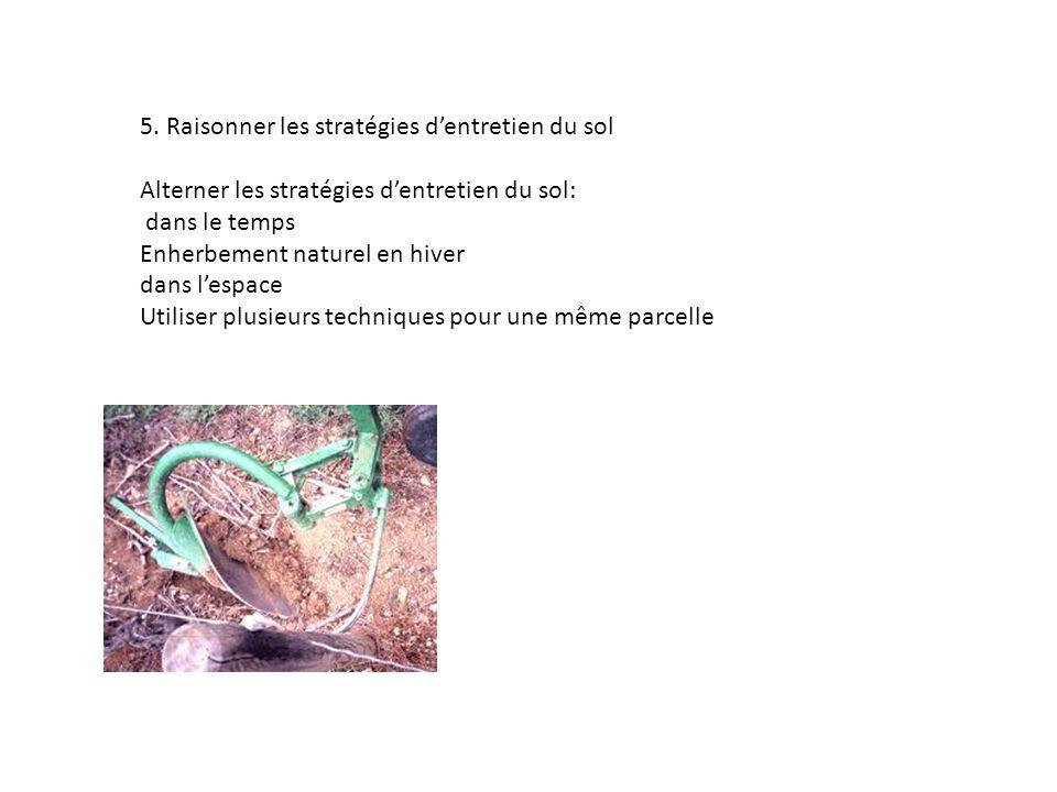 5. Raisonner les stratégies dentretien du sol Alterner les stratégies dentretien du sol: dans le temps Enherbement naturel en hiver dans lespace Utili