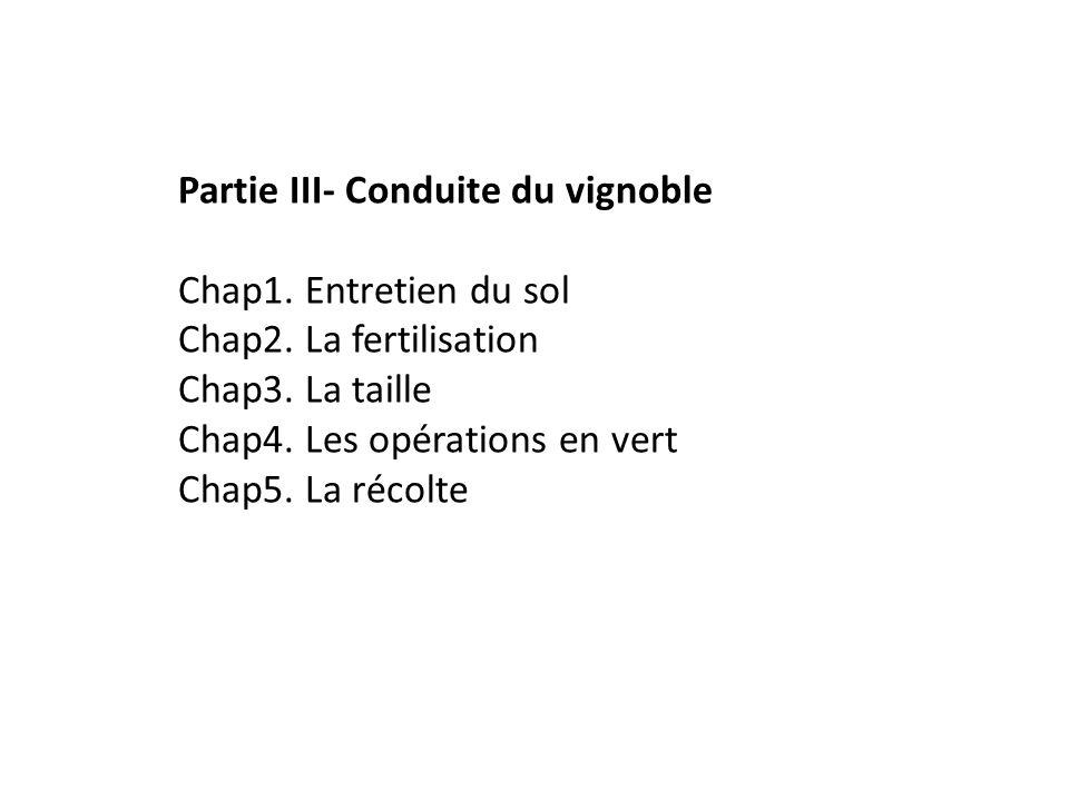 Partie III- Conduite du vignoble Chap1. Entretien du sol Chap2. La fertilisation Chap3. La taille Chap4. Les opérations en vert Chap5. La récolte