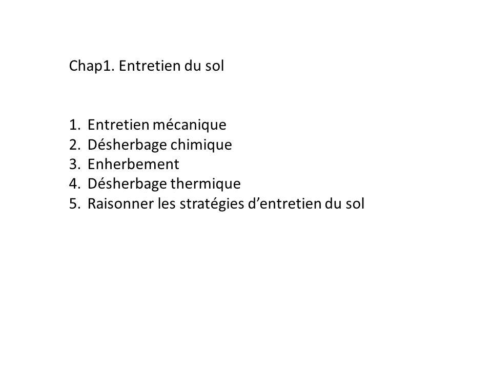 Chap1. Entretien du sol 1.Entretien mécanique 2.Désherbage chimique 3.Enherbement 4.Désherbage thermique 5.Raisonner les stratégies dentretien du sol