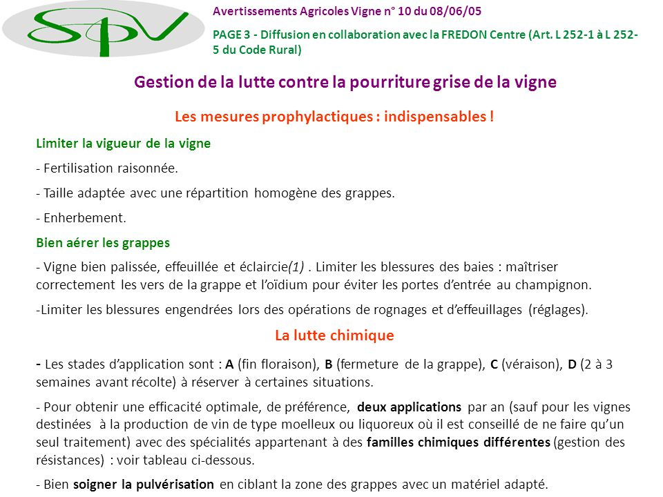Gestion de la lutte contre la pourriture grise de la vigne Les mesures prophylactiques : indispensables ! Limiter la vigueur de la vigne - Fertilisati