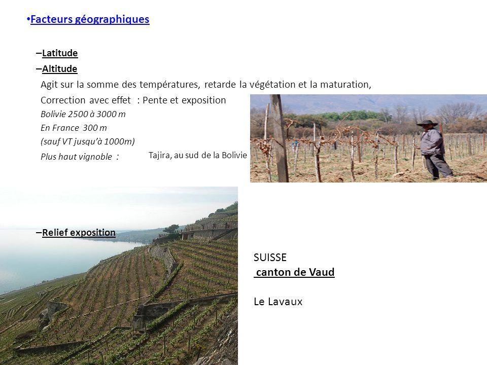 Facteurs géographiques – Latitude – Altitude Agit sur la somme des températures, retarde la végétation et la maturation, Correction avec effet : Pente