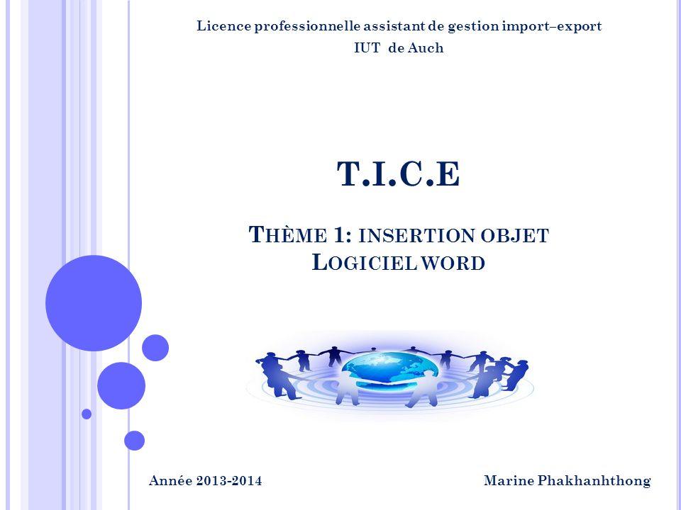 T HÈME 1: INSERTION OBJET L OGICIEL WORD T.I.C.ET.I.C.E Licence professionnelle assistant de gestion import–export IUT de Auch Marine PhakhanhthongAnn