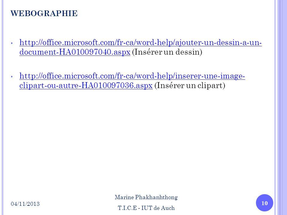 http://office.microsoft.com/fr-ca/word-help/ajouter-un-dessin-a-un- document-HA010097040.aspx (Insérer un dessin) http://office.microsoft.com/fr-ca/wo
