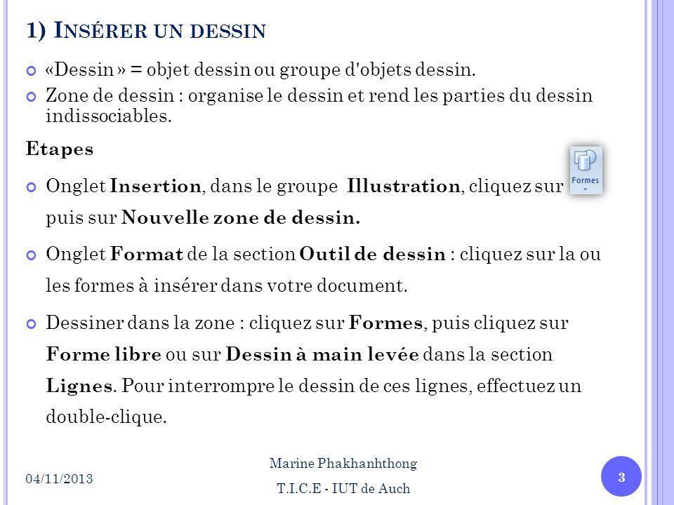 1) I NSÉRER UN DESSIN «Dessin » = objet dessin ou groupe d'objets dessin. Zone de dessin : organise le dessin et rend les parties du dessin indissocia