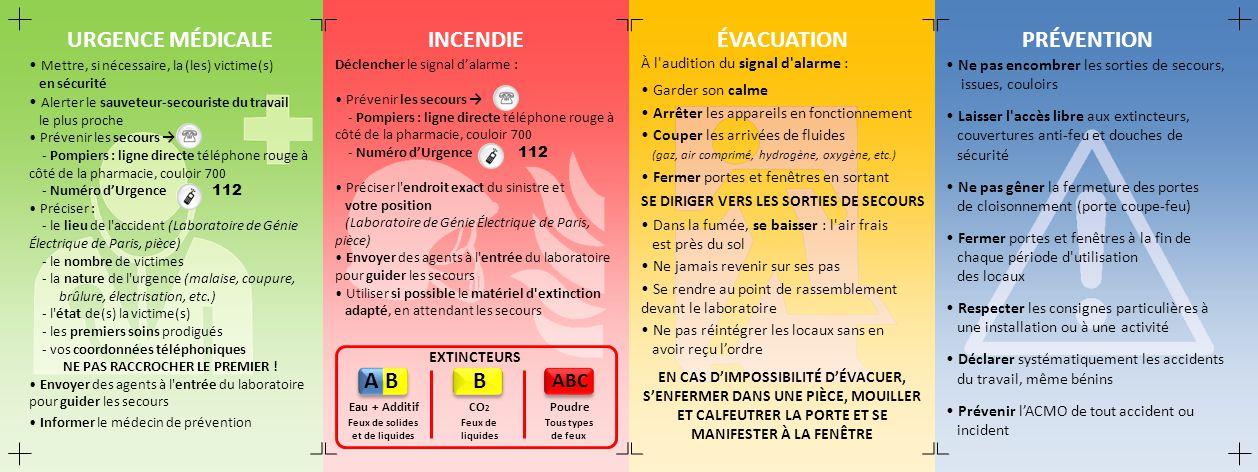 URGENCE MÉDICALE Mettre, si nécessaire, la (les) victime(s) en sécurité Alerter le sauveteur-secouriste du travail le plus proche Prévenir les secours - Pompiers : ligne directe téléphone rouge à côté de la pharmacie, couloir 700 - Numéro dUrgence 112 Préciser : - le lieu de l accident (Laboratoire de Génie Électrique de Paris, pièce) - le nombre de victimes - la nature de l urgence (malaise, coupure, brûlure, électrisation, etc.) - l état de(s) la victime(s) - les premiers soins prodigués - vos coordonnées téléphoniques NE PAS RACCROCHER LE PREMIER .