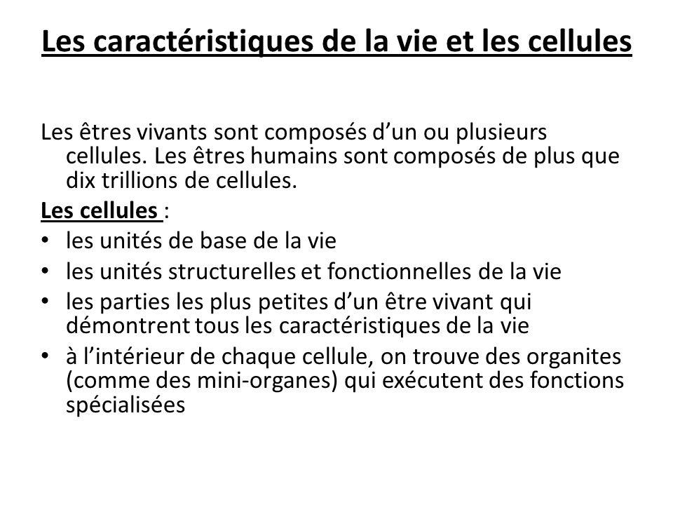 Les caractéristiques de la vie et les cellules Les êtres vivants sont composés dun ou plusieurs cellules. Les êtres humains sont composés de plus que