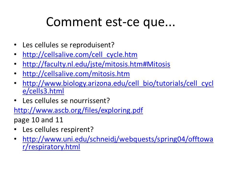 Comment est-ce que... Les cellules se reproduisent? http://cellsalive.com/cell_cycle.htm http://faculty.nl.edu/jste/mitosis.htm#Mitosis http://cellsal