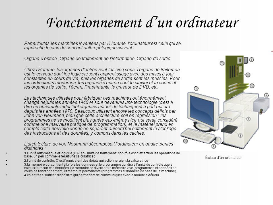 Fonctionnement dun ordinateur Parmi toutes les machines inventées par l'Homme, l'ordinateur est celle qui se rapproche le plus du concept anthropologi