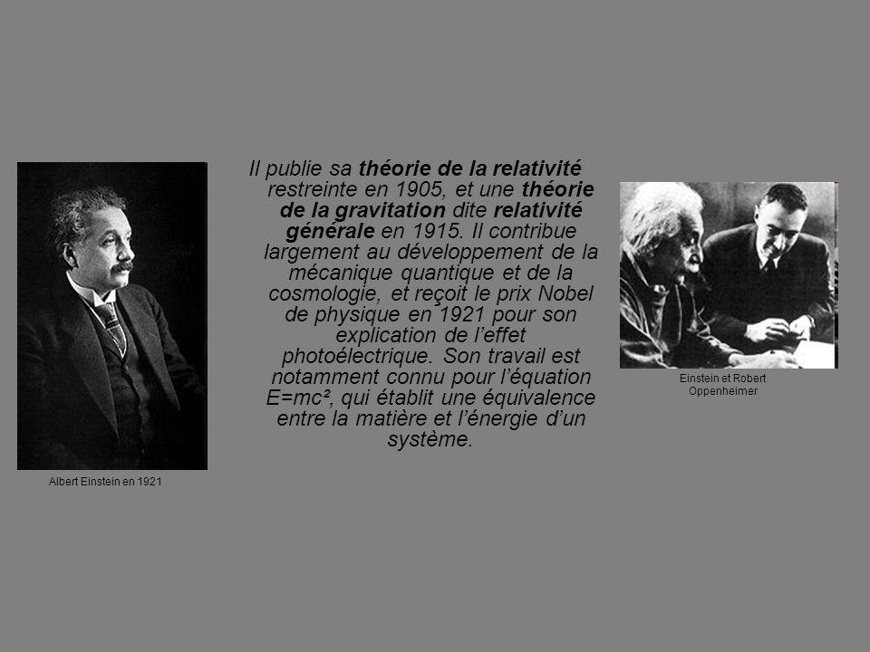 Il publie sa théorie de la relativité restreinte en 1905, et une théorie de la gravitation dite relativité générale en 1915. Il contribue largement au