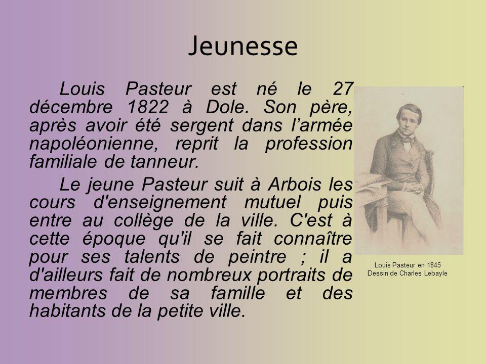Jeunesse Louis Pasteur est né le 27 décembre 1822 à Dole. Son père, après avoir été sergent dans larmée napoléonienne, reprit la profession familiale