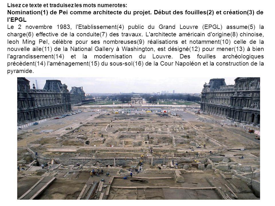 Lisez ce texte et traduisez les mots numerotes: Nomination(1) de Pei comme architecte du projet. Début des fouilles(2) et création(3) de l'EPGL Le 2 n