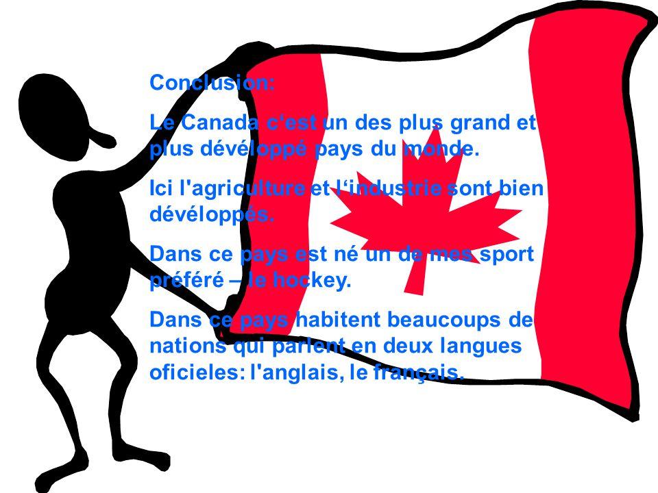 Conclusion: Le Canada cest un des plus grand et plus dévéloppé pays du monde. Ici l'agriculture et lindustrie sont bien dévéloppés. Dans ce pays est n