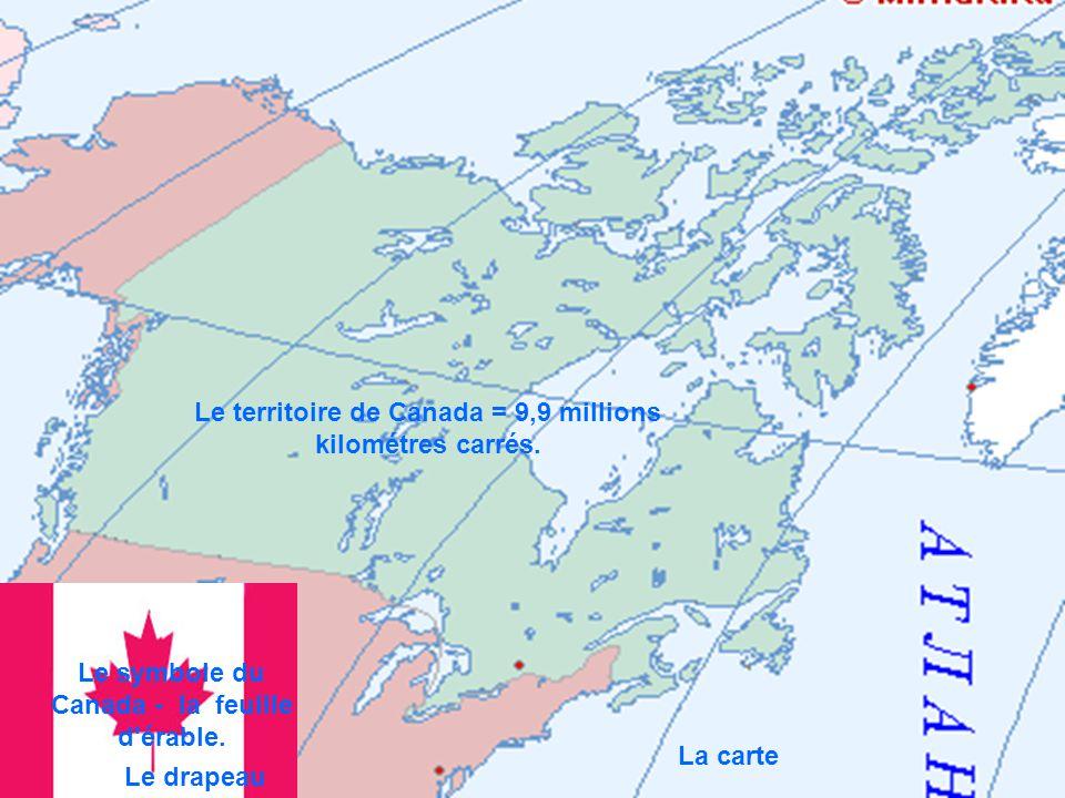 Le drapeau La carte Le territoire de Canada = 9,9 millions kilométres carrés. Le symbole du Canada - la feuille d'érable.