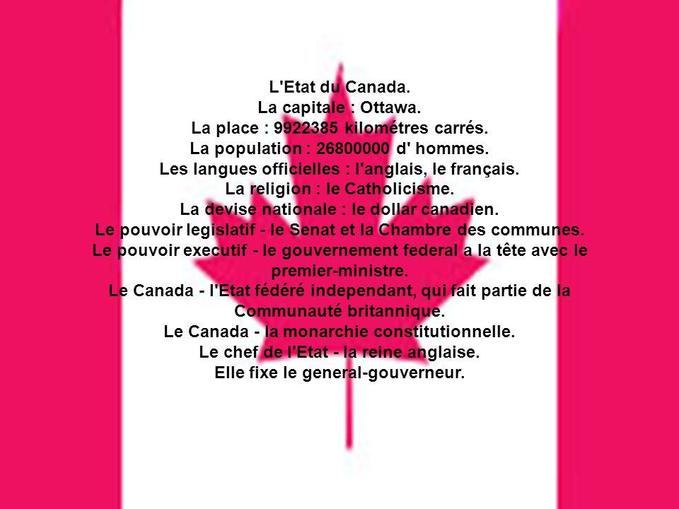 L'Etat du Canada. La capitale : Ottawa. La place : 9922385 kilométres carrés. La population : 26800000 d' hommes. Les langues officielles : l'anglais,