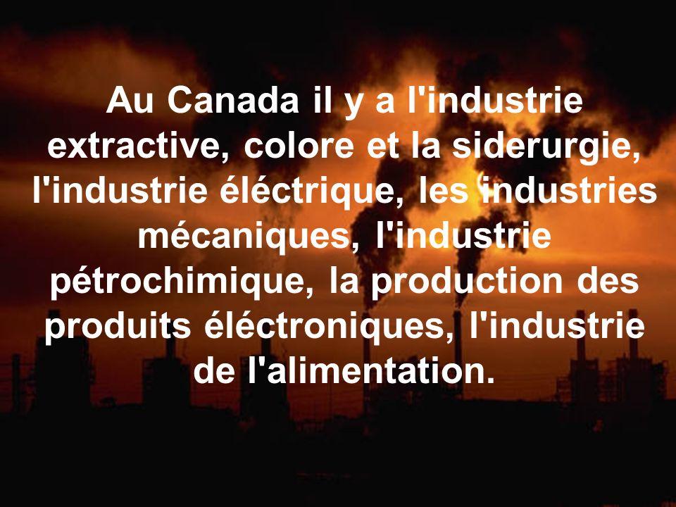 Au Canada il y a l'industrie extractive, colore et la siderurgie, l'industrie éléctrique, les industries mécaniques, l'industrie pétrochimique, la pro