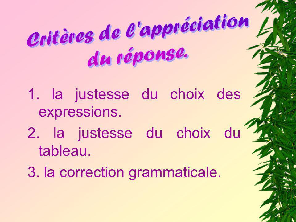 1. la justesse du choix des expressions. 2. la justesse du choix du tableau. 3. la correction grammaticale.